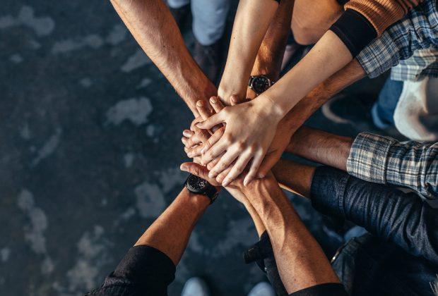 Team work - hands together